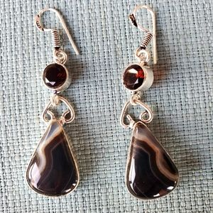 New Banded Black Onyx and Garnet Silver Earrings.